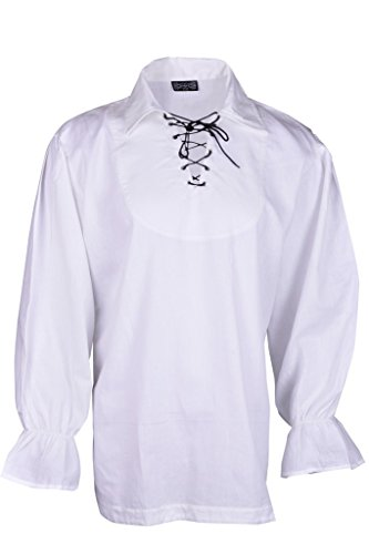 [Renaissance Casual Summer Pirate Hippie Shirt Medieval Men Costume Off-White Color Large Size] (Male Wench Costume)