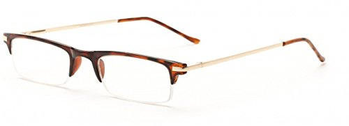 Readers.com The Bishop Unisex Half Rim Browline Reading Glasses, Rectangular Half Frame Readers for Men and Women + 2.75 Brown Tortoise (Microfiber Cleaning Carrying Pouch - Red Rimmed Tortoise