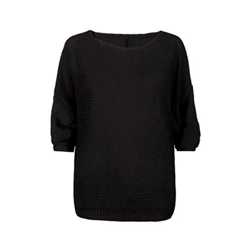 Koly Manga del Batwing mujeres suéter suéter flojo puente Tops de punto Negro