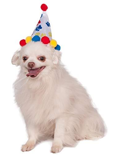 Rubie's Pet Birthday Hat, Medium to Large, Boy Paw Print ()