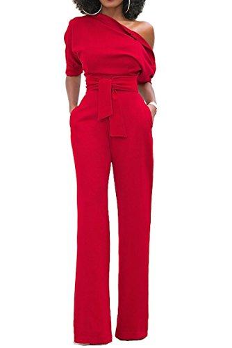 Leg Zipper (Womens Off One Shoulder Wide Leg Pants with Side Zipper Jumpsuit Romper Red L)
