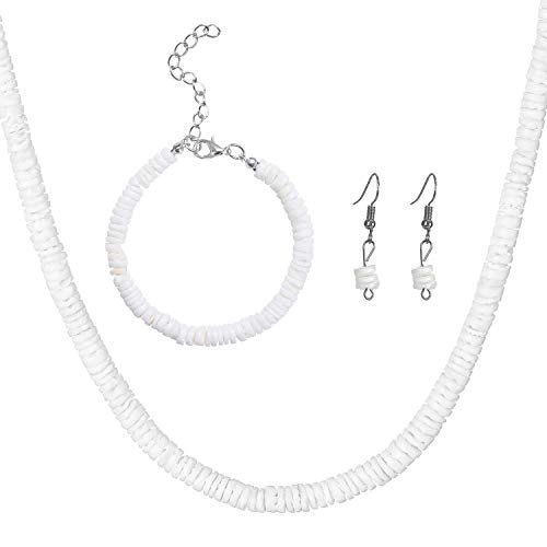 niyokki Puka Shell Necklace Choker for Women, White Clam Chips Seashell Necklace Bracelet Earrings Set, Handmade Natural Hawaiian Beach Choker Necklace (Shell Necklace Set Rond, Adjustable 14