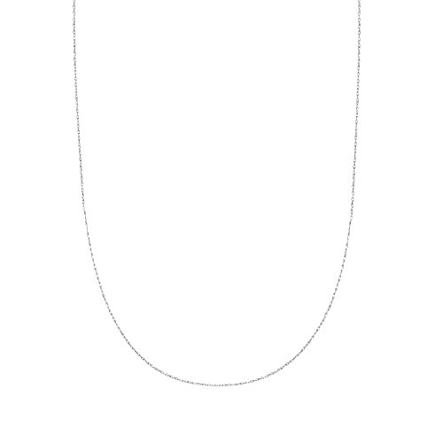Ritastephens 10k Solid White Gold Sturdy Pendant Rope Chain Necklace (18 Inches)