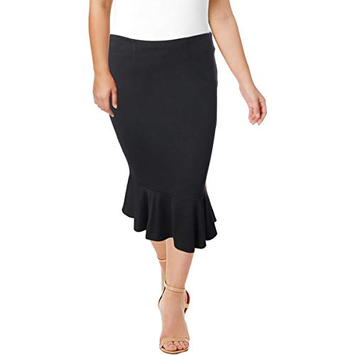 Junarose Womens Plus Ruffled Below Knee Flare Skirt Black 2X