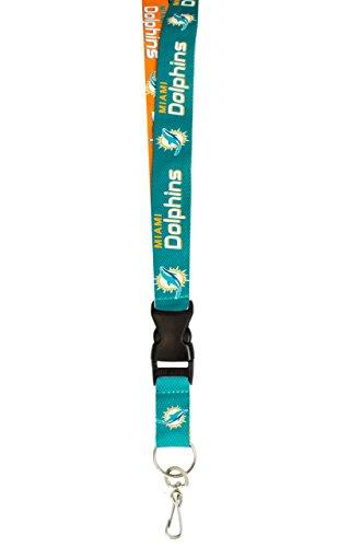 Pro Lanyard - Pro Specialties Group NFL Miami Dolphins Two-Tone Lanyard, Aqua/Orange, One Size