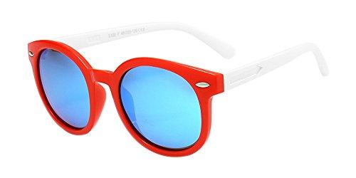 BOZEVON Unisexe Polarisées Lunettes de Soleil pour Enfants Garçons Filles Ovale Monture en caoutchouc flexible Sport Lunettes Rouge/Bleu