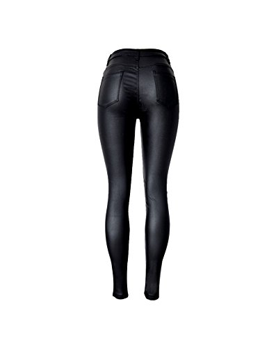 Stretch Tascabile Dimensioni Grandi Vita A Pu Rivestiti Locomotiva Di Shopping Easy Denim Alta Selvaggia Ecopelle Pantaloni Black Go In 8ORawgYq