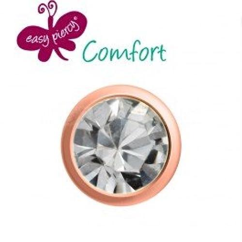 Easy piercy Comfort Erst Pendientes Rose Dorado piedra Brillant Vidriera