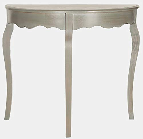 Wood Console Table with Curvy Cabriole Legs - Half Moon Elm Console Table - French Gray ()