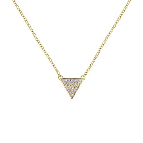 (QUINBY Triangle Necklace Rose Gold-Plated Sterling Silver with Pave Cubic Zirconia Crystal)