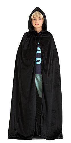 Black Hooded Cape Costume (Hsctek Dracula Black Cape Kids,Vampire Black Cloak with Hood,Halloween Velvet Hooded Cape)