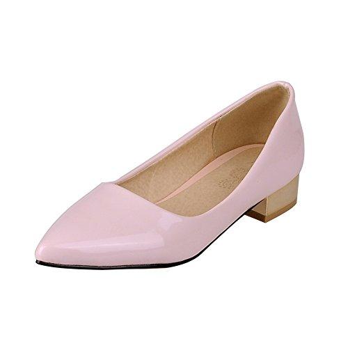Allhqfashion Femmes Pointu Bout Fermé Talons Bas Tirer Sur Des Chaussures Solides-chaussures Rose