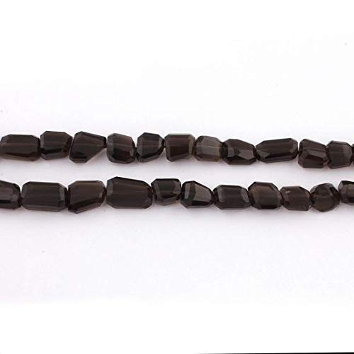 GemAbyss Beads Gemstone 1 Strand Natural Smoky Quartz Faceted Briolettes - Center Drill Nuggets Beads 10mmx9mm-17mmx10mm 16 Inches Code-MVG-13069 ()