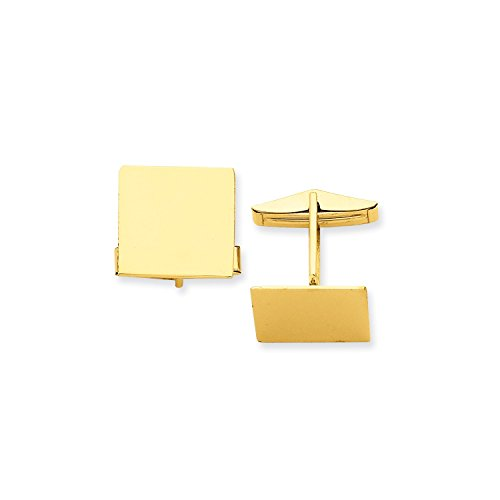 Roy Rose Jewelry 14K Yellow Gold Square Cuff (Rose Gold Yellow Cufflinks)