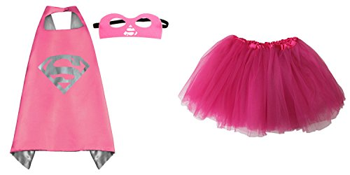Superhero or Princess TUTU, CAPE, MASK SET COSTUME - Kids Childrens Halloween (Supergirl II - Hot Pink)