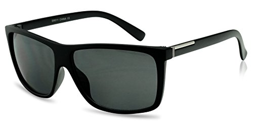 Unisex Classic Square Super Dark Black Limo Tint Lens Keyhole Frame Sunglasses (Matte Black w/ Silver, - Night Friday Kid Sunglasses