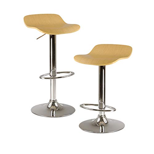 Winsome Kallie Air Lift Adjustable Stools and Natural Color Wood Veneer Seat with Metal Base, Set of 2 (Stool Gold Color)