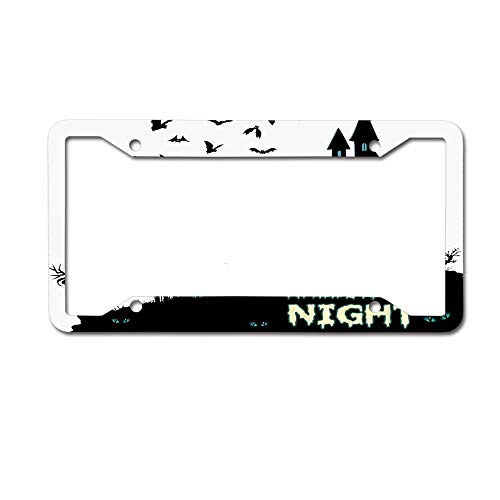 PoppyAnthony Halloween Night Horror Castle Pumpkin Scarecrow Bat Licence Plate Frame Aluminum License Plate Cover for US Canada 4 Hole and Screw]()