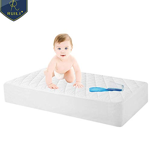 100% Waterproof Quilted Fitted Crib Mattress Protector, Soft Breathable Organic Bamboo Baby Waterproof Mattress Pad, Natural Hypoallergenic Vinyl Free Mattress Cover for Stains, Dust Mite Proof