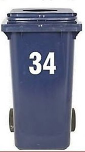 2 Large Wheelie Bin Number Self Adhesive Stick On Sticker White Numbers - 7 ()