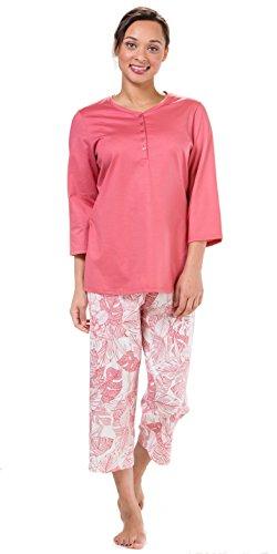 Calida Pajama - Calida Capri PJs - 3/4 Sleeve 100% Cotton Knit Pajamas - Garnet Ferns (Garnet Rose Ferns, Small)
