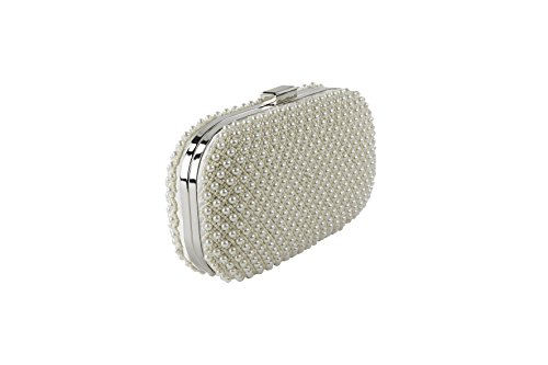 Clutch in raso ricoperta di perle e micro perle