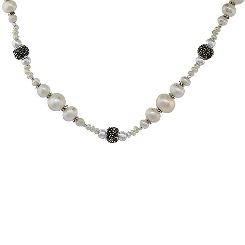 (Nylon Necklace Sterling Silver Accents, Freshwater Pearls & Marcasite Stones )