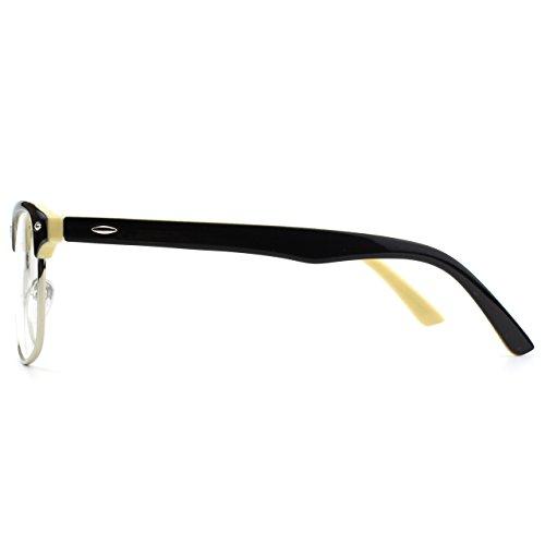 lunettes PF6 Frame Clear Inspiré Black Beige Vintage Half GQUEEN Xwqp4ap
