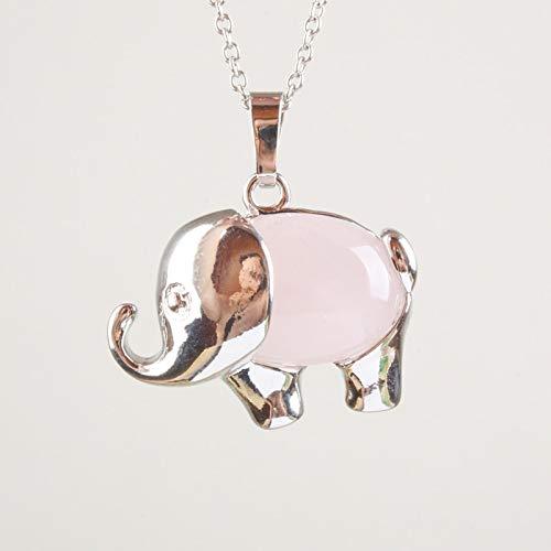 Pretty Rose Pink Quartz Tiger Eye Opal Snowflakes Aventurine Elephant Animal Pendant (1pcs)