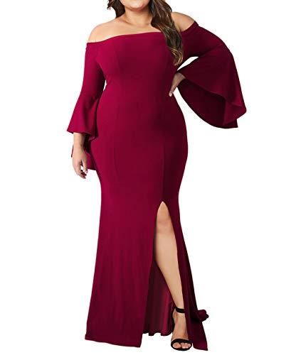 Lalagen Women's Plus Size Off Shoulder Bodycon Long Evening Party Dress Gown Red XXXXL