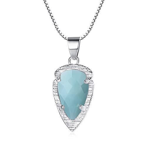 COAI 925 Sterling Silver Arrowhead Amazonite Stone Pendant Necklace for Women