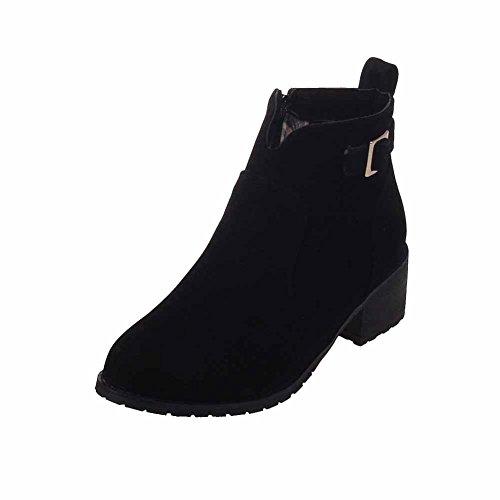 Allhqfashion Women's Kitten-Heels Frosted Ankle-high Solid Zipper Boots Black tjzwAIHy1