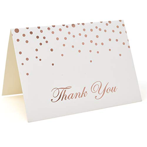 Metallic Rose Gold Foil Dots Thank You Cards with Envelopes, Set of 48 Printable Blank Confetti Card for Wedding Holiday Teacher Appreciation Bridal & Baby Shower Engagement Graduation Birthday Party