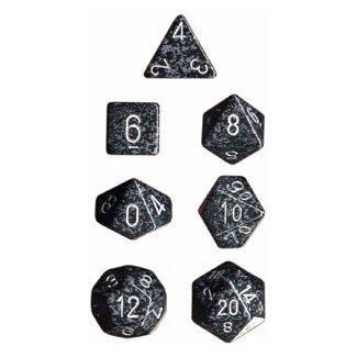 Chessex Dice: Polyhedral 7-Die Speckled Dice Set - Ninja (2-Pack)