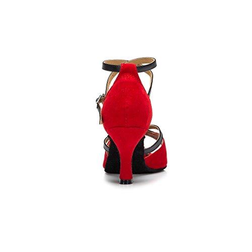 Tda Moda Para Mujer Tobillo Starp Peep Toe Suede Salsa Tango Ballroom Latin Modern Dance Zapatos Rojo