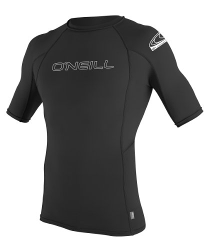 O'Neill Wetsuits Men's Basic Skins UPF 50+ Short Sleeve Rash Guard, Black, Large ()