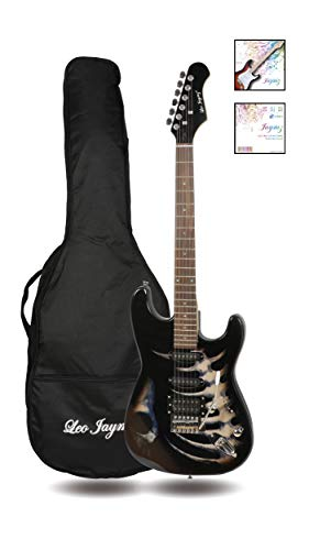 39″ Full Size ST Style Electric Guitar – Black Skull Sticker Graphic Design – HSS Pickups with Super Light String for Beginners