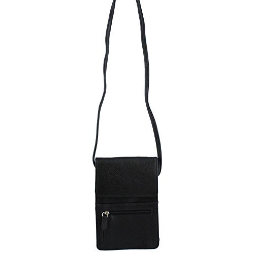 Leather Organizer on a String Cross Body,One Size,Black