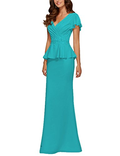 Chiffon Mother of The Bride Dresses Beads Applique Peplum Prom Dress Evening Gowns Jade US 8