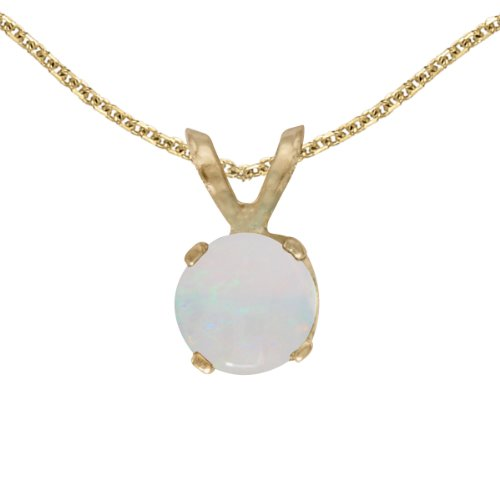 Opal 14k Gold Pendant - 14k Yellow Gold Round Opal Pendant with 18
