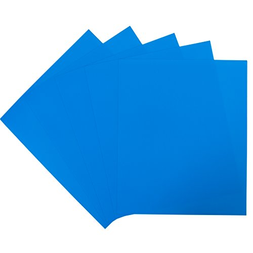 Vinyl Vibrant Blue - Rozzy Crafts - Neon Blue Heat Transfer Vinyl (HTV) - Matte and Smooth - 5 Sheets Each 12 inches by 10 inches - Works with Cricut, Silhouette, and All Other Cutting Machines
