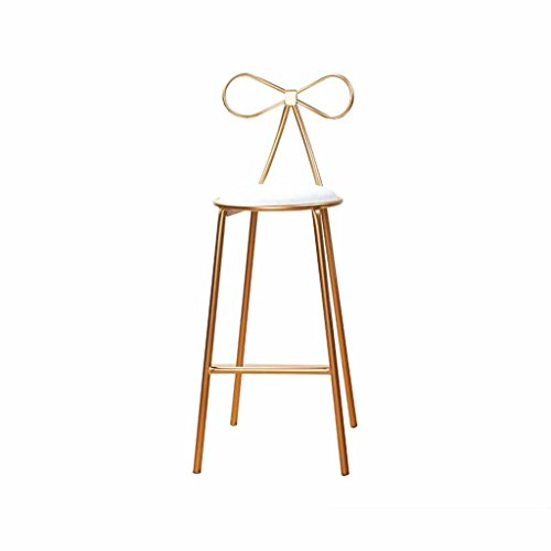 (Metal Bar Stool Modern Kitchen Breakfast Tall Chairs Counter Chair Front Desk Stools Creativity Simple Northern Europe Iron Bow-knot Decoration Load 120Kg (Color: Golden) (Sitting Height)