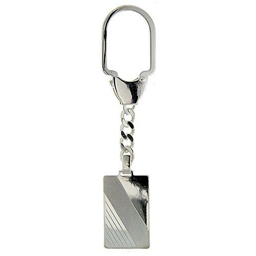 Sterling Silver Rectangular Keychain - Sterling Silver Keychain Engraveable Rectangular Tag Diagonal Stripe, 3 1/2 inch