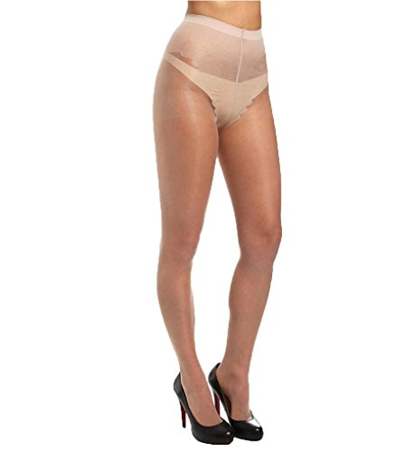 Sheer French Lace - HUE French Lace Panty Pantyhose with Control Top Natural 2