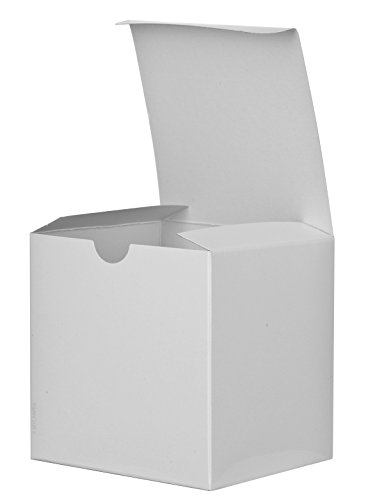 6 Pack of Small Square High Gloss White Gift Boxes- 6 x 6 X 6