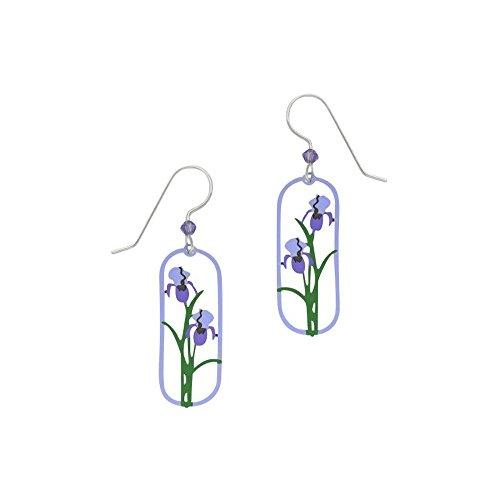 Iris Flower Earrings - Artisan Sienna Sky Two-Tone Purple Iris Earrings with Gift Box