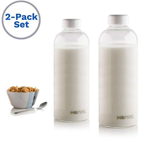 Glass Milk Bottles with lids 32oz (Set of 2) Reusable White Top Caps, Big Portable BPA Free Leak Proof Drinking Bottle, Ideal for Office Desk, Car, Kitchen Fridge Storage, Kids ()