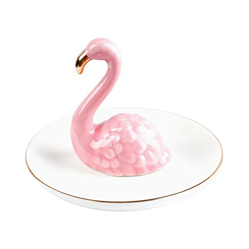 ornerx Jewelry Ring Holder Bird With Round (Bird Round Dish)