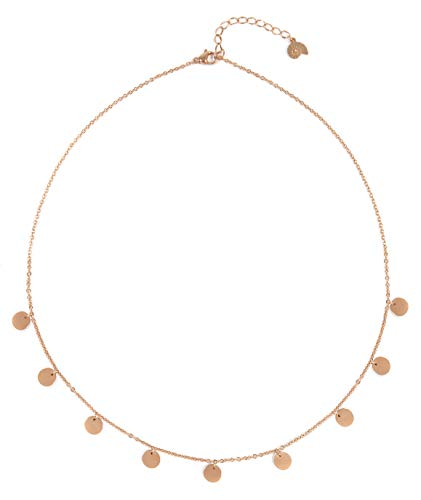 Happiness Boutique Multi Circles Necklace Rose Gold | Necklace with Round Disc Pendants
