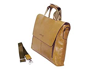 Highflyer Leather Messenger bag Broad dsn 9088-3-Khaki
